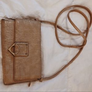 Nude satchel bag with removable strap